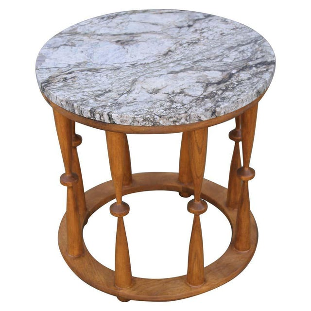 Brown 1960s Midcentury Spindle Table With Marble Top For Sale - Image 8 of 8