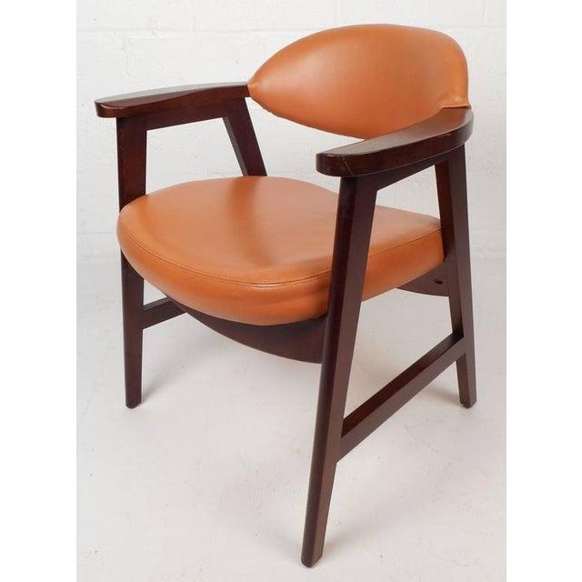 Mid-Century Modern Vinyl Dining Chairs - Set of 4 - Image 3 of 8