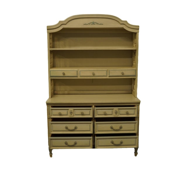 French Provincial French Provincial Dixie Furniture Cream Painted Double Dresser with Bookcase Hutch For Sale - Image 3 of 11