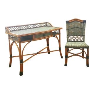 Grange French Rattan Desk & Chair Set For Sale