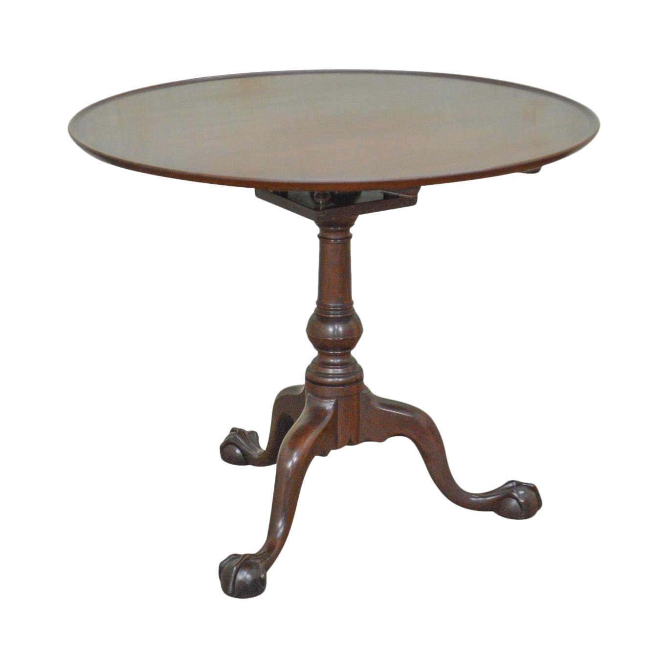 Kittinger Colonial Williamsburg Solid Mahogany Chippendale Ball U0026 Claw Tilt  Top Table