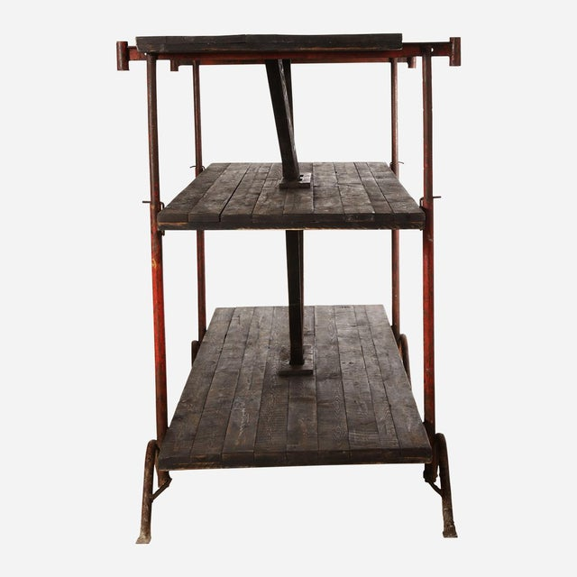 Industrial Industrial Wooden Shelving Rack For Sale - Image 3 of 7