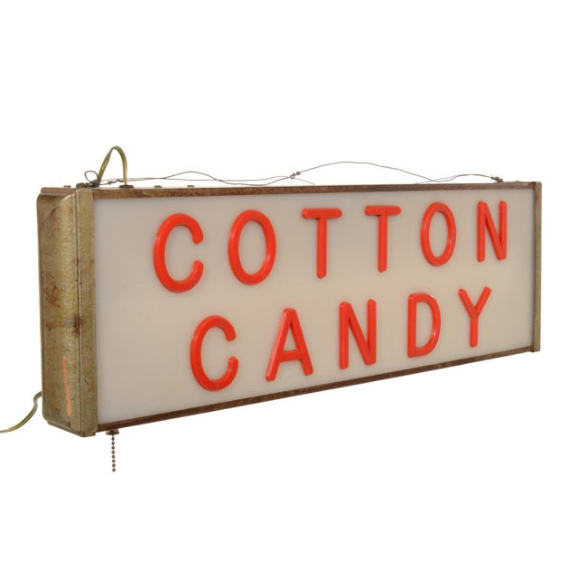 American Lighted Cotton Candy Sign For Sale - Image 3 of 11