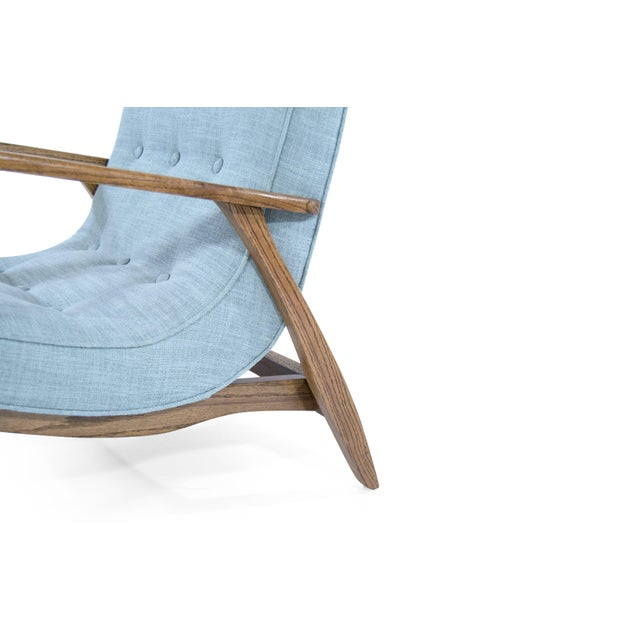 Blue Modernist Scoop Oak Linen Upholstered Lounge Chairs - a Pair For Sale - Image 8 of 10