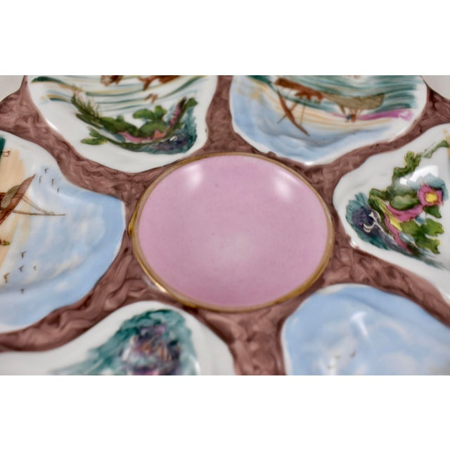 Late 19th Century French Porcelain Hand-Painted Fishing Scene Oyster Plate For Sale - Image 5 of 13