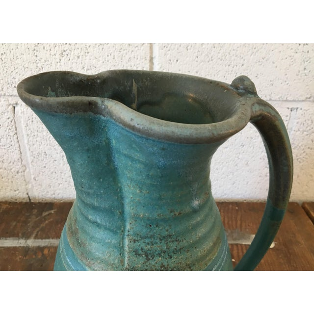 20th Century Boho Chic Turquoise Studio Pottery Pitcher For Sale In Portland, OR - Image 6 of 9