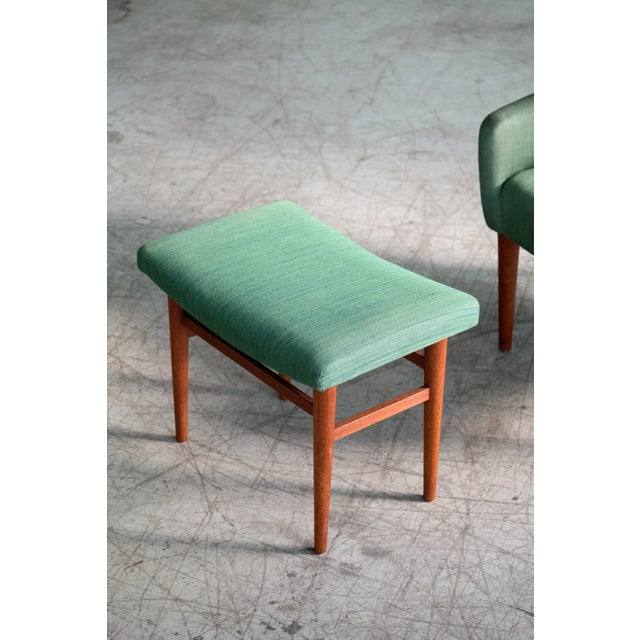Danish 1950's Green Easy Chair With Footstool by Jacob Kjaer For Sale - Image 11 of 12