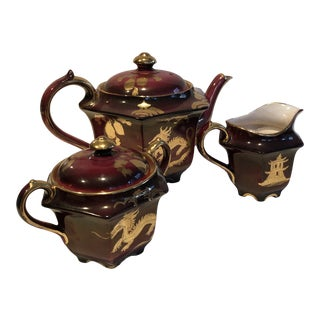 Vintage Sadler Burgundy and Gold Asian Dragon Teapot With Cream and Lidded Sugar Bowl - 3 Pieces For Sale