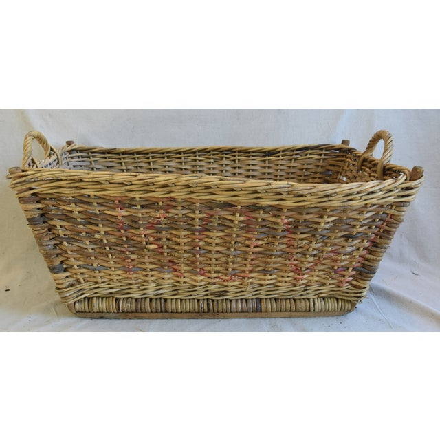 Large Early 1900s French Woven Wicker/Willow Market Basket For Sale - Image 9 of 11