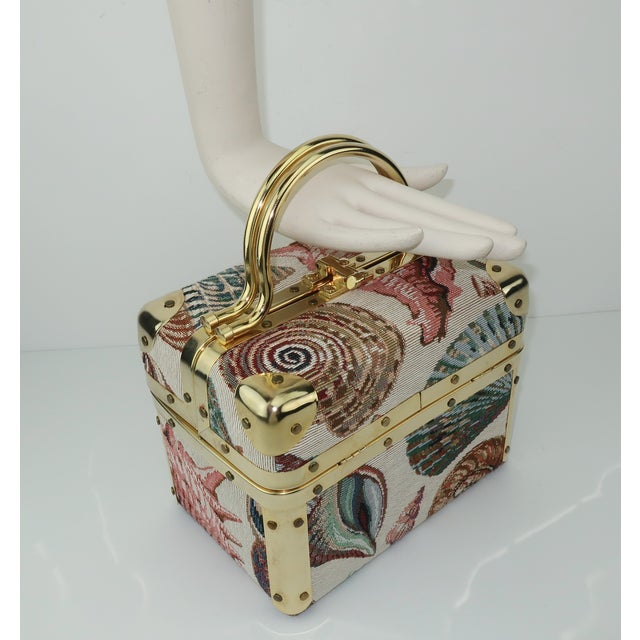 1980's Lisette New York Seashell Tapestry Train Case Handbag For Sale - Image 10 of 12
