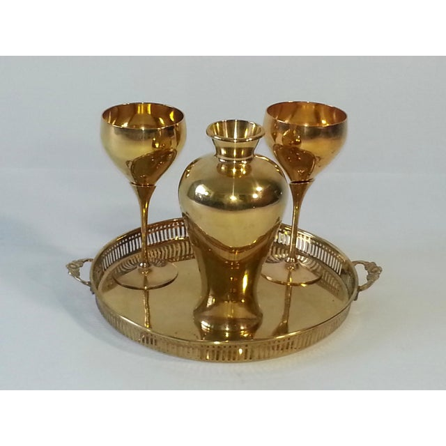 Mid-Century Brass Goblets, Vase & Tray - Set of 4 For Sale - Image 10 of 11