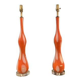 Mid-20th Century Orange and White Murano Table Lamps - a Pair For Sale
