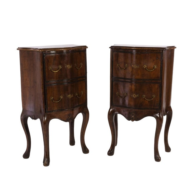 1890 Pair of Italian Walnut Bedside Tables With Carved and Ebonized Details, Each With Faux Drawer Front Single Doors For Sale