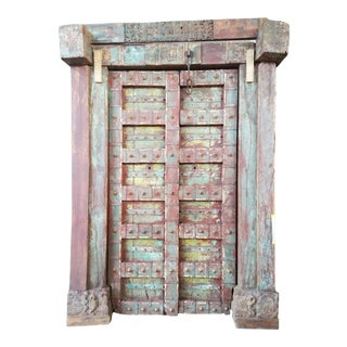 Antique Indian Carved Teak Double Doors For Sale