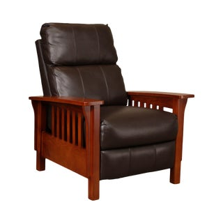 Mission Style Brown Leather Recliner For Sale