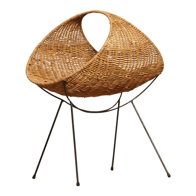 Cane Magazine Rack, Attributed to Franco Campo, Carlo Graffi, 1950s, Italy For Sale