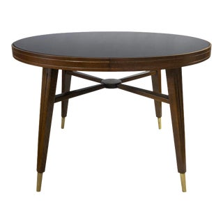 Mid Century Round Walnut Side or Center Table With Black Glass Top For Sale