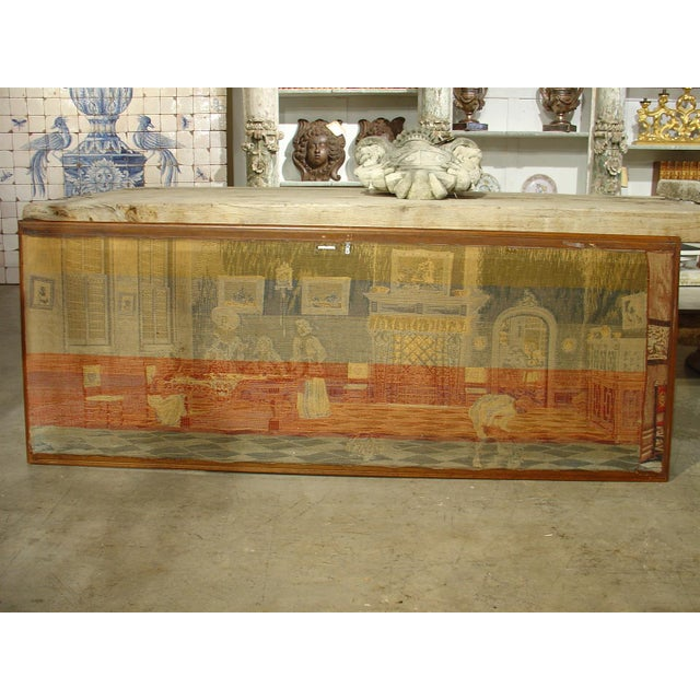 A Long Oak Framed French Tapestry Depicting an Interior Scene, Circa1900 For Sale - Image 9 of 10