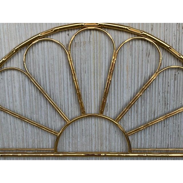 Italian Mid-Century Modern Italian Faux Bamboo Gilt Metal Queen Headboard For Sale - Image 3 of 8