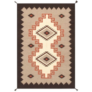 Navajo Style Wool Area Rug - 6′1″ × 9′ For Sale