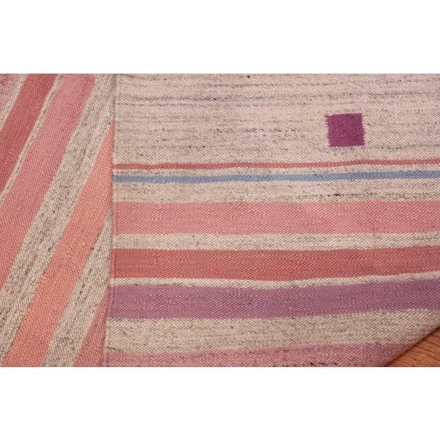 Boho Chic Vintage Scandinavian Swedish Flat-Woven Kilim Rug - 5′7″ × 8′ For Sale - Image 3 of 10