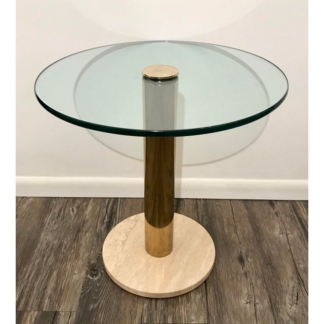 Contemporary Pace Collection Italian Marble, Brass and Glass Side Table For Sale - Image 3 of 5