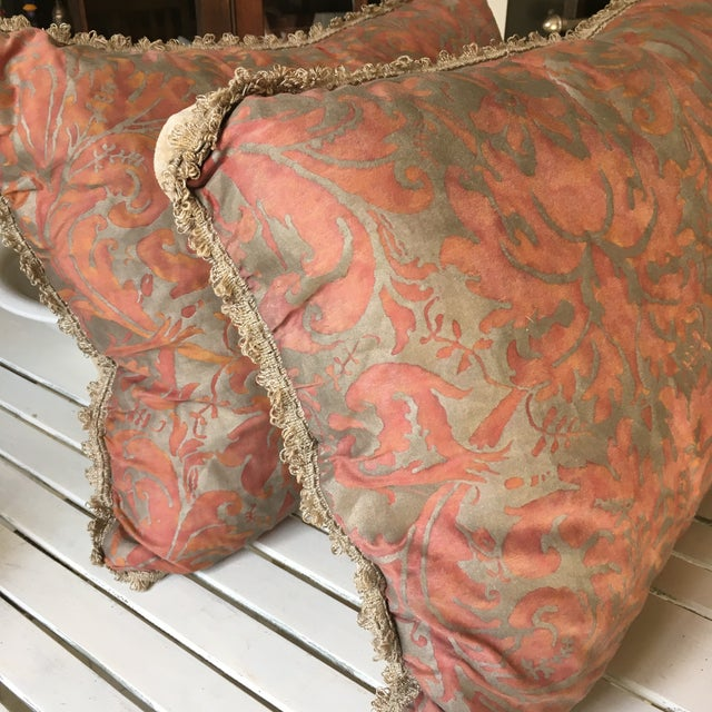 French 1980s Fortuny Fabric Pillows - a Pair For Sale - Image 3 of 6