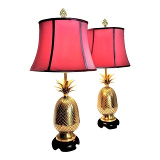 Solid Brass Pineapple Table Lamps by Frederick Cooper - Signed - Mid Century Modern Hollywood Regency Palm Beach Boho Chic For Sale