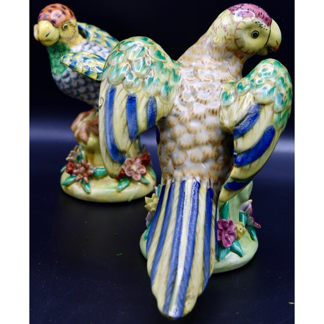 Mid-20th Century Colorful Chinese Export Porcelain Parrot Figurines - a Pair For Sale - Image 11 of 12
