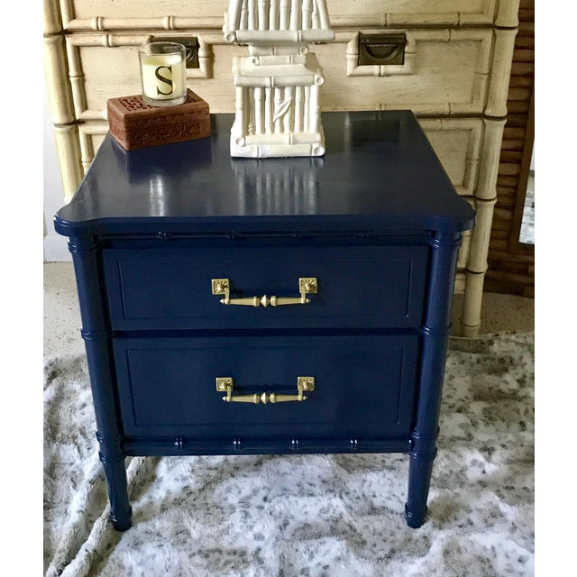 Henry Link Vintage Mid-Century Henry Link Style Navy Blue Faux Bamboo Nightstand For Sale - Image 4 of 13
