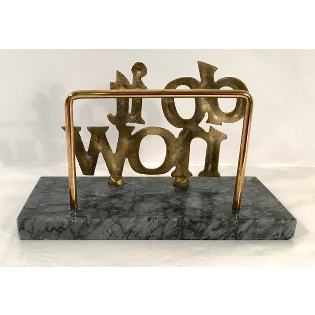 "Mid-Century ""Do It Now"" Brass & Marble Letter Holder For Sale - Image 4 of 7"