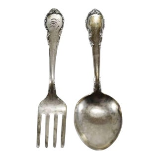 Modern Victorian by Lunt Sterling Silver Baby Fork & Spoon Set For Sale