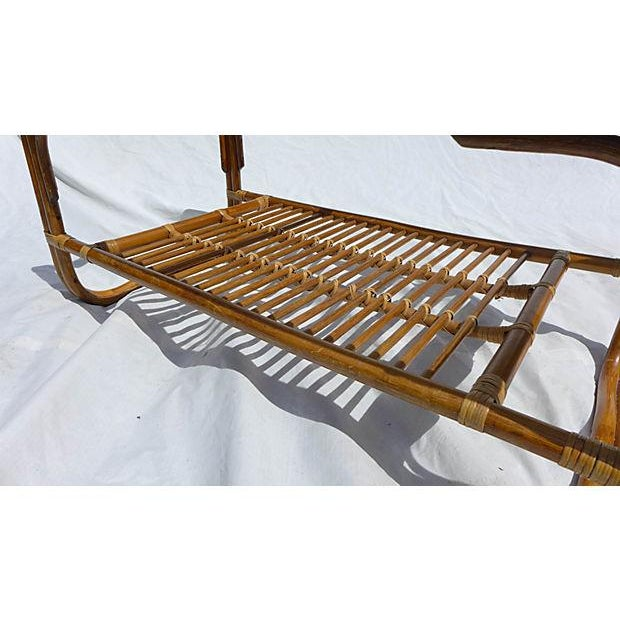 Brown 70's Albini Style Rattan Coffee Table With Glass For Sale - Image 8 of 8