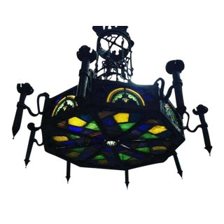Monumental Gothic Iron and Ornate Stained Glass Panel Chandelier For Sale