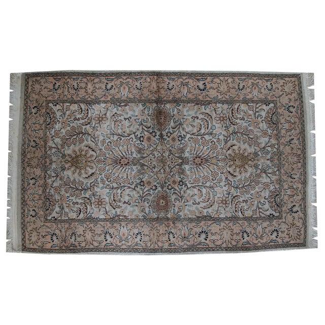 Vintage Silk Indian Indo-Tabriz Rug - 3′2″ × 5′3″ For Sale - Image 4 of 10