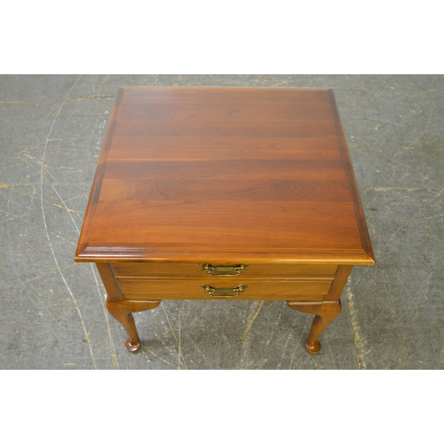 Harden Solid Cherry Pair of Vintage Square Queen Anne End Tables For Sale - Image 5 of 10