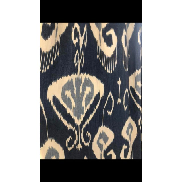 Beautiful high quality, heavy duty cotton linen curtain panels in a beautiful blue and cream Ikat pattern. French pleats...