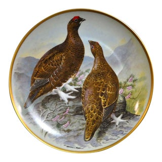 Franklin Limoges Porcelain Wall Plate Gamebirds Motif Limited Edition 1979 France Red Grouse For Sale