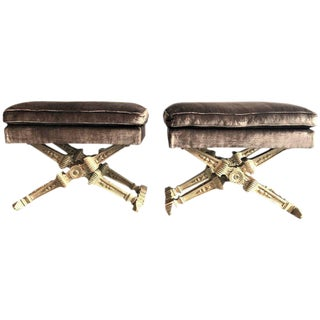 Pair of Hollywood Regency Carved Silver Gilt 'X' Form Benches For Sale