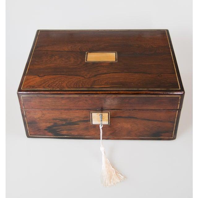 19th-Century English Rosewood Box, Lock & Key For Sale - Image 10 of 10