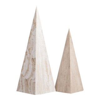 A Pair of Marble Obelisk Sculptures 1980s For Sale