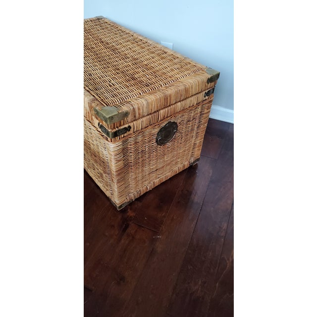 Vintage Wicker Rattan Trunk For Sale - Image 12 of 13