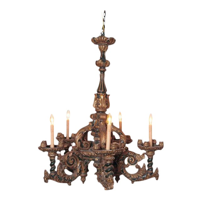 Exquisite italian carved wood chandelier decaso italian carved wood chandelier for sale aloadofball Gallery