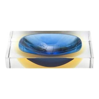 Italian Murano Sommerso Flavio Poli Glass Bowl/ Vide Poche For Sale