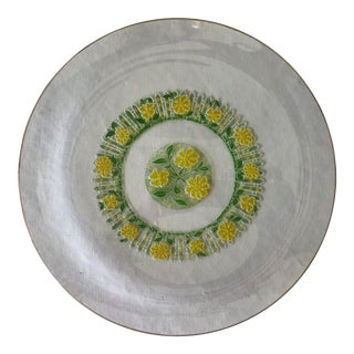 1960's Culver Round Glass Serving Dish With Daisies and Picket Fence For Sale