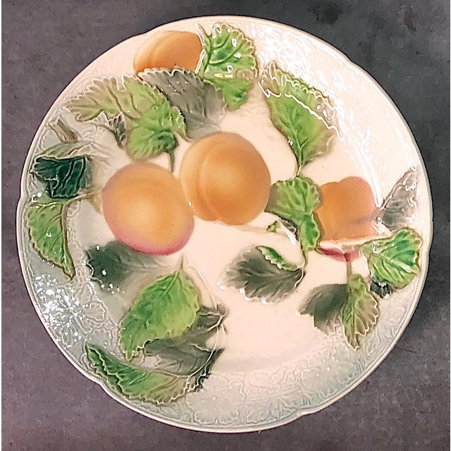Ceramic St. Clement French Faience Majolica Fruit Plates - Set of 6 For Sale - Image 7 of 10