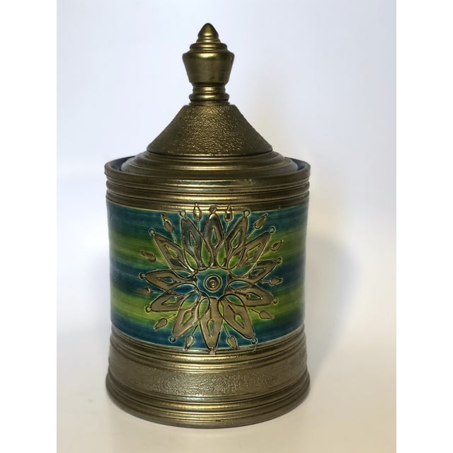 Ceramic Rosenthal Netter Bitossi Blue and Green Jar For Sale - Image 7 of 10