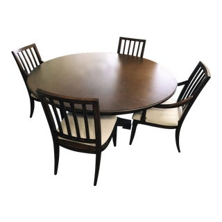 Thomasville Furniture Harlowe & Finch Adelaide Round Oak Dining Set- 5 Pieces For Sale