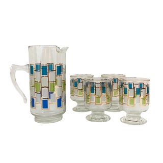Libbey Nordic 5 Piece Cocktail Set From 1963 - 5 Pieces For Sale