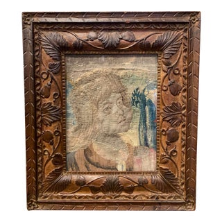 18th Century French Aubusson Tapestry of Joan of Arc in a Carved Frame For Sale
